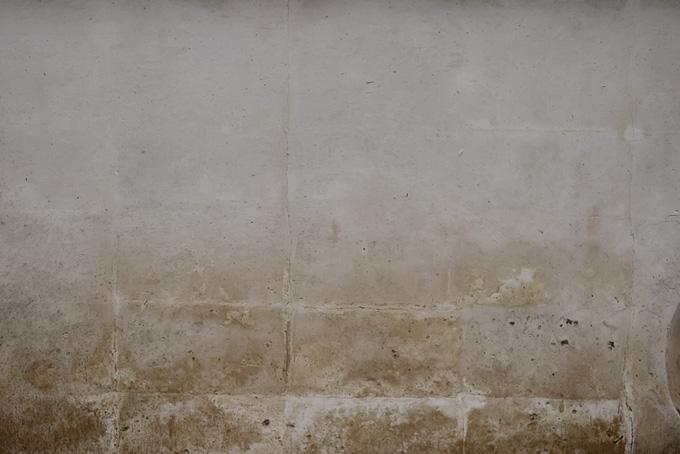 ブロック塀の上から薄く塗ったセメント