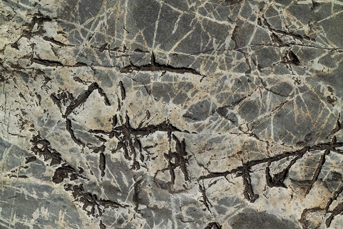 無数の白い線がある岩のテクスチャ