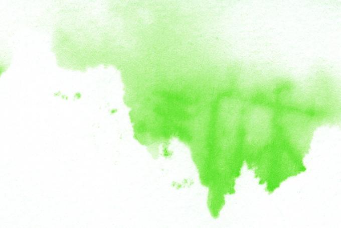 垂れるように紙に広がる緑の色