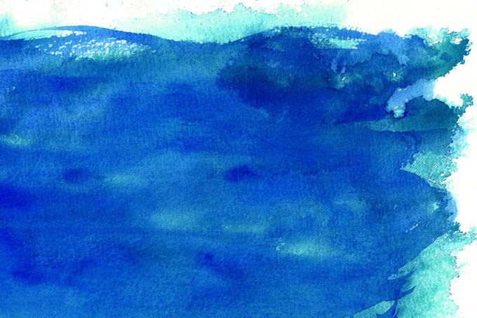 海をイメージする水彩模様