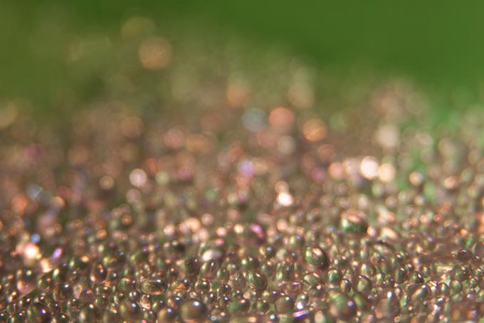 沢山の色を反射する透明な粒