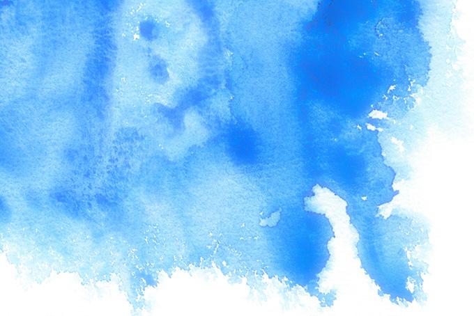 ブルーが滲む水彩テクスチャ(水彩の画像)