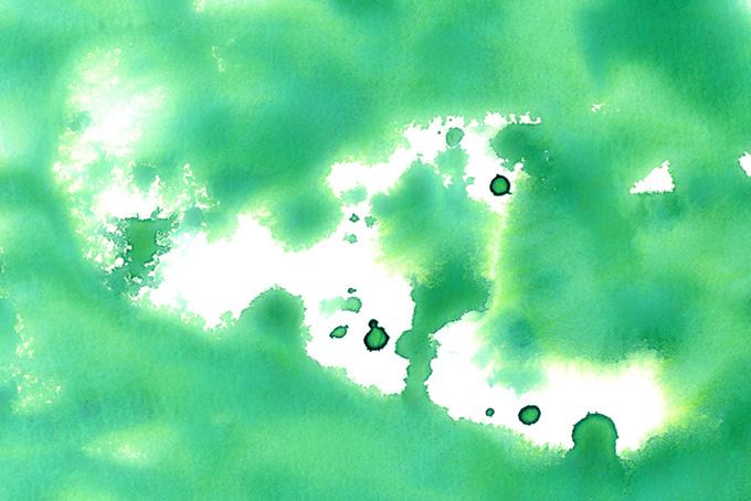 コバルトグリーンの水彩イメージの画像