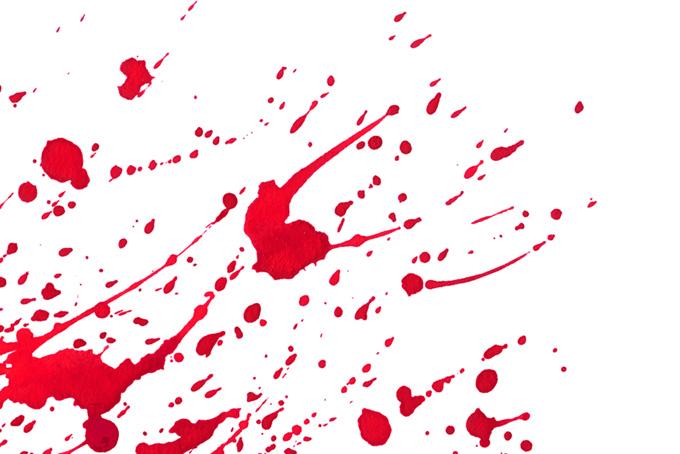 返り血のような赤い絵具の背景