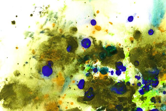 白い紙に掠れて濁る絵具のテクスチャ