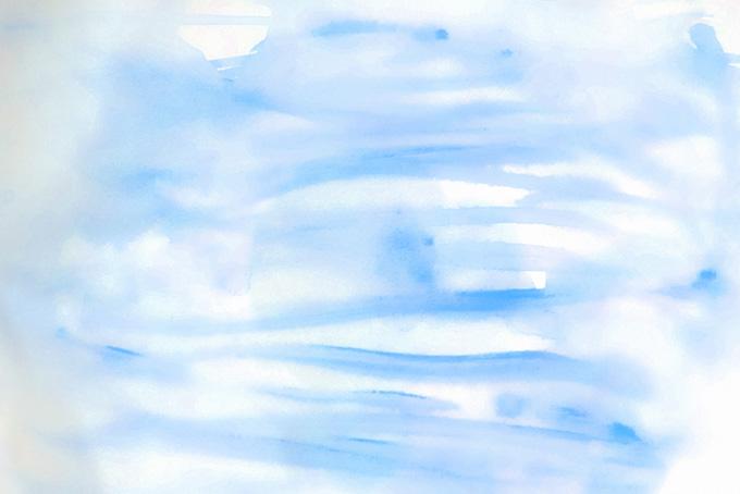 水に滲む青い絵具のライン画像(水彩 カラフルのフリー画像)