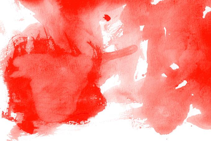 赤い水彩絵具を乱雑に塗った白背景(水彩 カラフルのフリー画像)