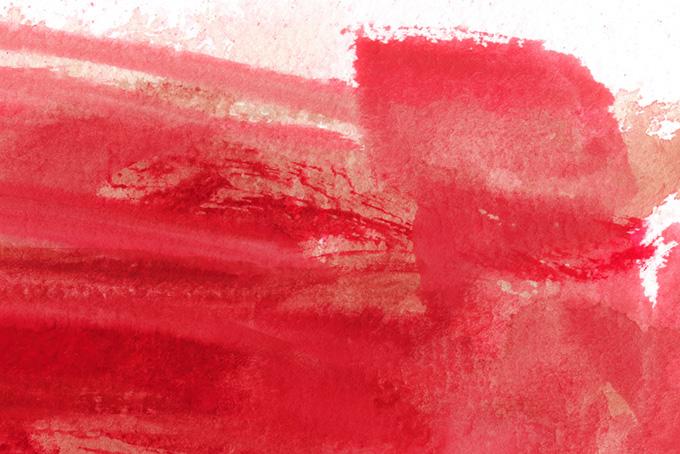 赤色が掠れた水彩のタッチ画像(水彩 カラフルのフリー画像)
