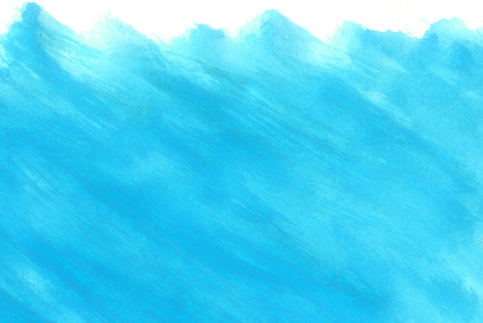 平筆で塗ったシアンの水彩背景