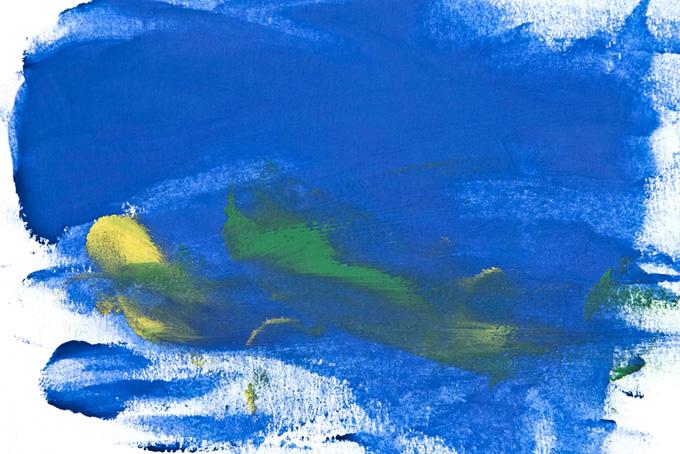 青と黄の絵具を塗った画用紙のテクスチャ