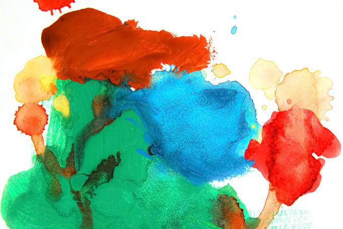 赤緑青の水彩厚塗り模様のおしゃれな背景