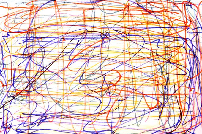 赤紫黄の水性ペンの雑なライン背景