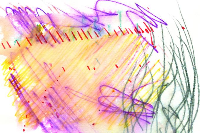 紫黄赤の水性ペンのにじみ背景