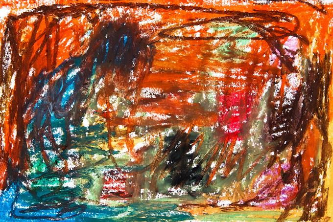 カラフルなクレヨンを塗った画用紙のかわいい背景