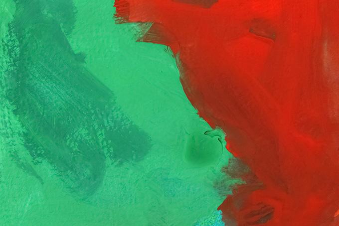 赤と緑の絵具厚塗り
