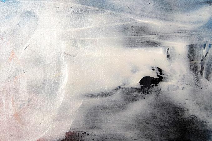 白と黒の厚く塗った絵具の水彩テクスチャー(水彩 絵の具のフリー画像)