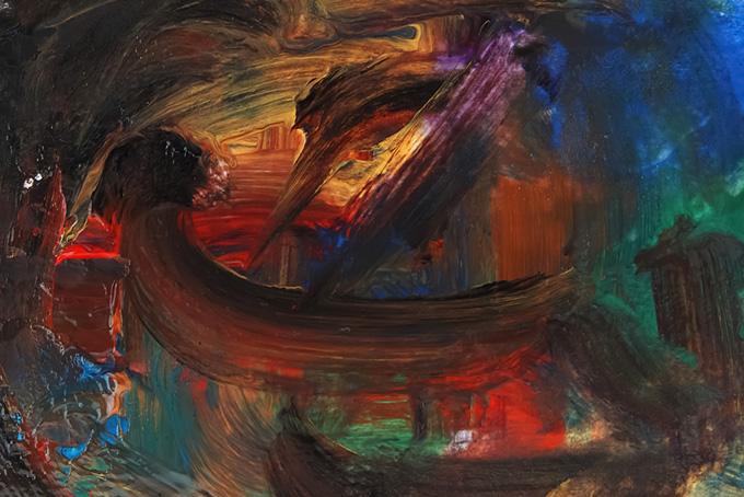 厚塗りの絵具が混色するテクスチャ背景(水彩 絵の具のフリー画像)