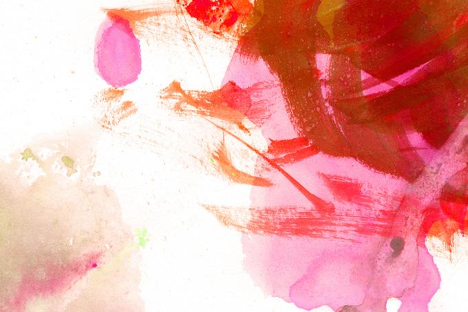 リズミカルな赤い水彩のタッチ
