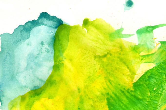 黄色と緑色の薄い水彩重ね塗り画像(水彩の画像)