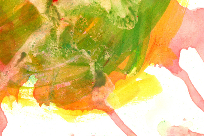 赤緑黄の重ね塗りした水彩テクスチャ(色 テクスチャのフリー画像)
