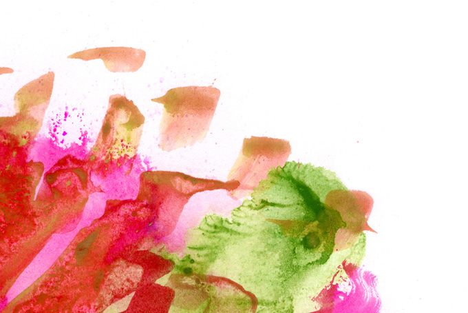 おしゃれな花のような水彩タッチと白背景
