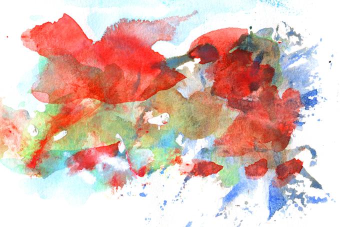 赤緑青のカラフルな水彩イメージの背景
