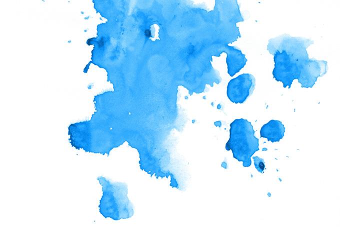 白い背景にブルーの水彩テクスチャ素材