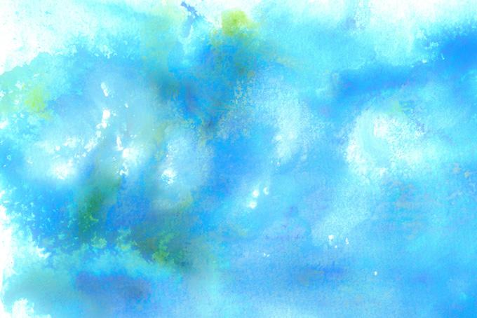 幻想的にぼけるブルーの水彩イメージ(水彩 カラフルのフリー画像)