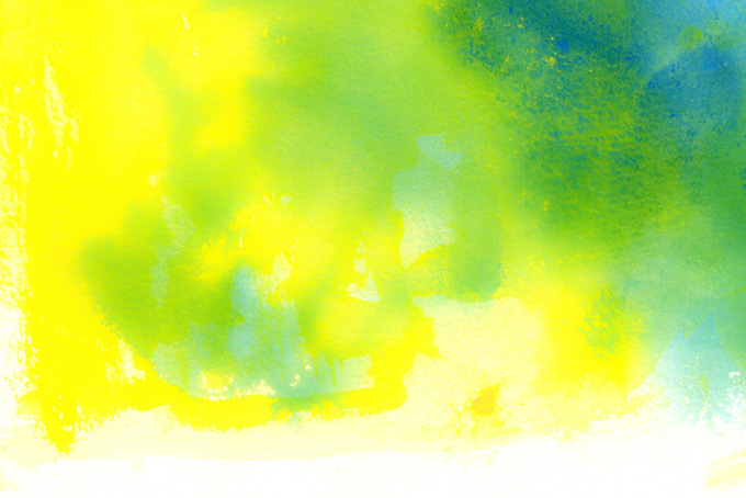 イエローとグリーンの水彩テクスチャ(水彩の画像)