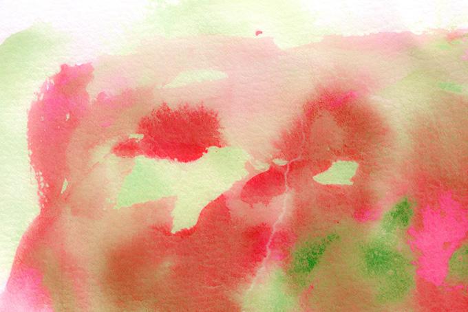レッドとグリーンの水彩にじみ素材(水彩 カラフルのフリー画像)