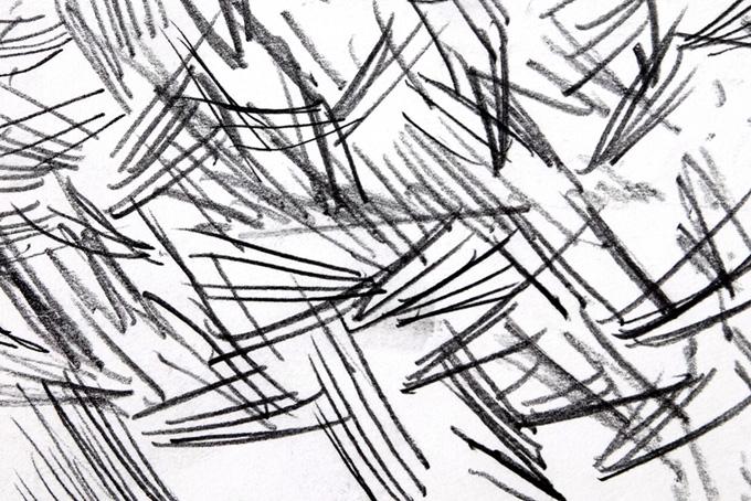 黒い鉛筆で描いた短い直線の集合(水彩 白黒のフリー画像)