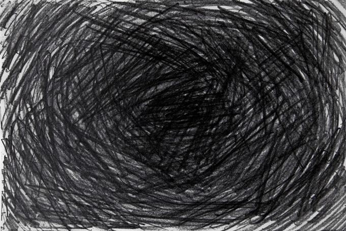 鉛筆の線で塗りつぶした黒背景(水彩 白黒のフリー画像)