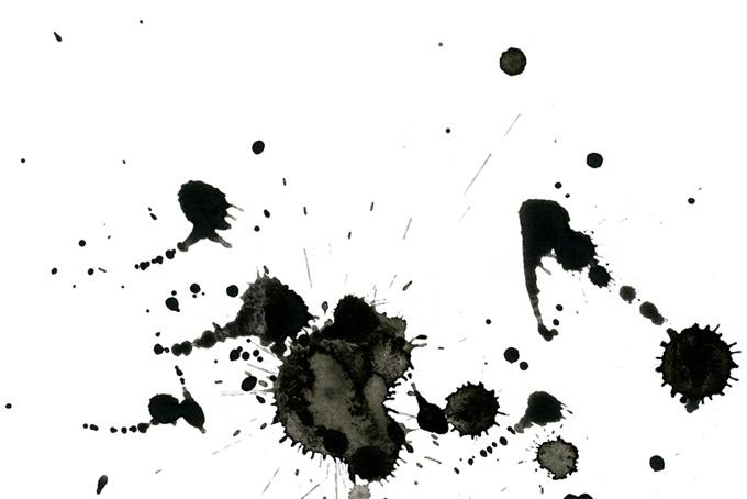 白背景と墨の飛び散り模様の和風水彩(水彩 墨のフリー画像)