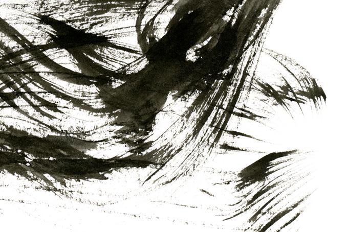 流れるような墨筆のかすれと白い背景(水彩 墨のフリー画像)