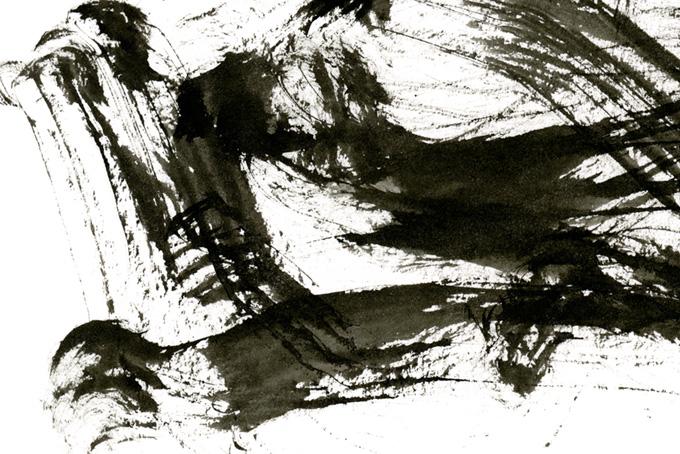 荒々しい筆のかすれの和風テクスチャ(水彩 墨のフリー画像)