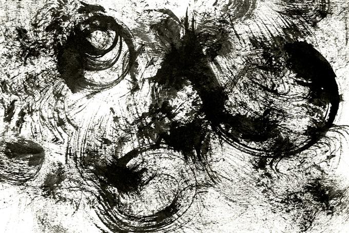 弧を描くかすれた墨の和風水彩背景