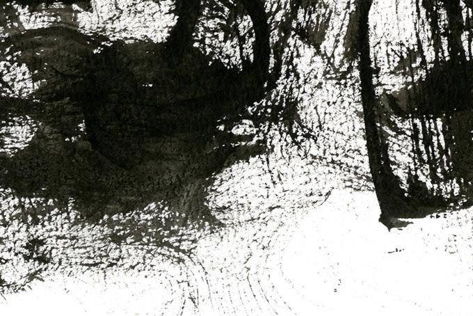 墨のかすれの筆跡と白背景