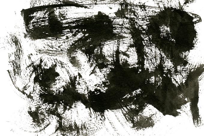 かすれた筆跡の黒墨のテクスチャ素材