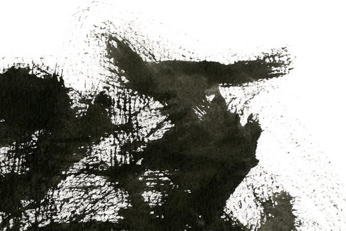 白い地に墨のかすれのテクスチャ(水彩 墨のフリー画像)