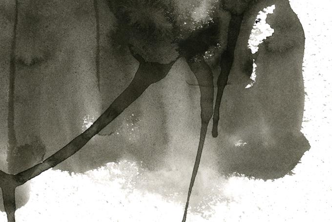 墨汁のにじみと垂れの水彩テクスチャ(水彩 モノクロのフリー画像)