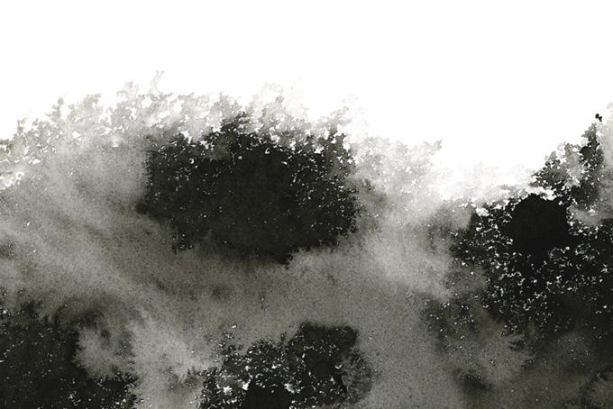 霧がかかる山のような墨の模様(水彩 モノクロのフリー画像)