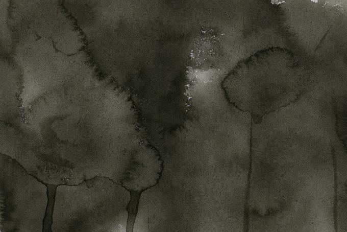 紙全体に墨のにじみ模様が広がるモノクロ画像