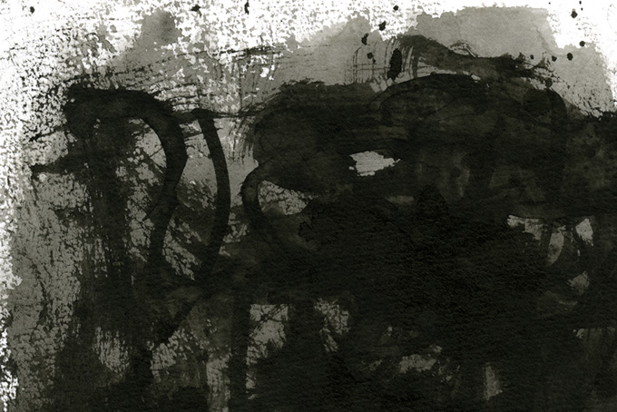 濃淡のある掠れた墨のテクスチャ(水彩 モノクロのフリー画像)