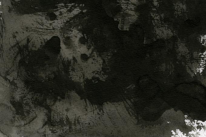 大胆な筆さばきの墨のかっこいい背景(水彩 モノクロのフリー画像)