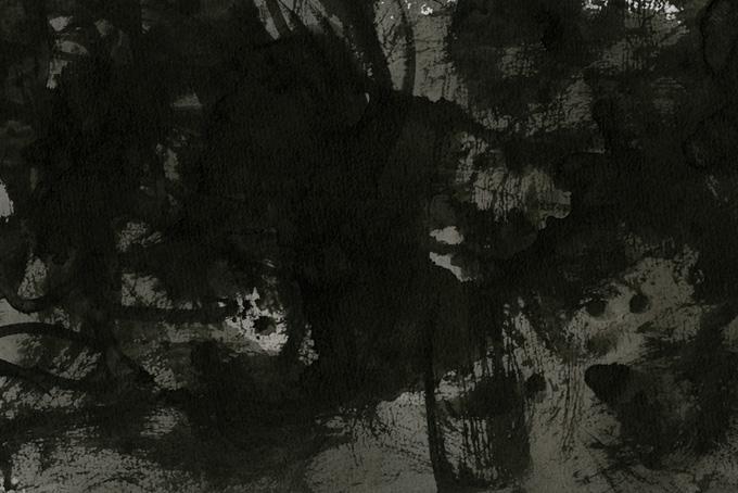 黒い墨液がかすれる和の水彩背景(水彩 モノクロのフリー画像)