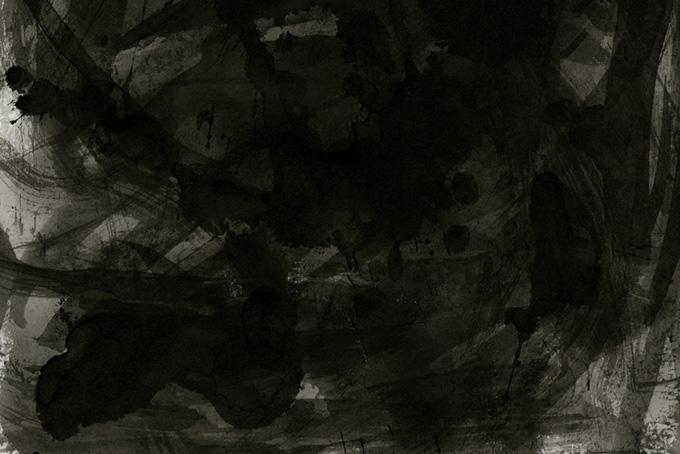 激しい筆使いの和風の黒い水彩背景(水彩 モノクロのフリー画像)