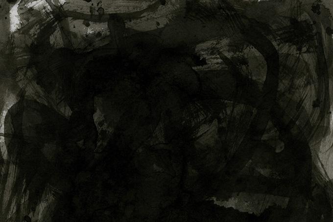 筆で書いた墨液のかすれの水彩テクスチャ(水彩 モノクロのフリー画像)